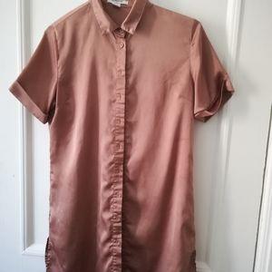 Satin blouse dress with Hi-Lo hem